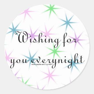 Wishing for you everynight classic round sticker