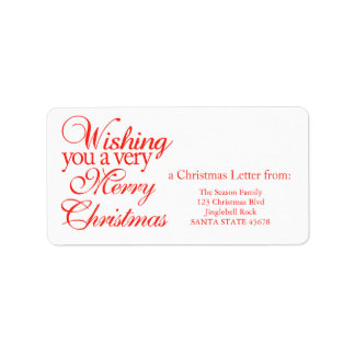Wishing you a very merry Christmas! Address Label
