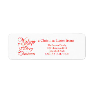 Wishing you a very merry Christmas! Return Address Label