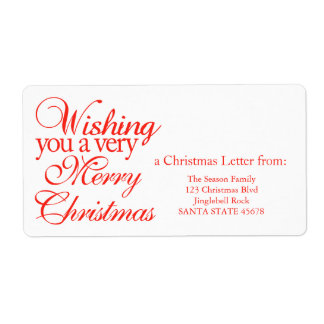 Wishing you a very merry Christmas! Shipping Label
