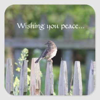 Wishing you peace square sticker