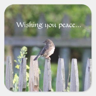 Wishing you peace square sticker