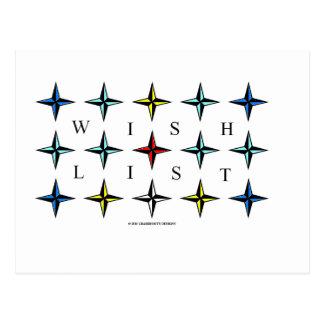Wishlist Make a List Dreams Come True Post Card