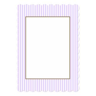Wisteria Lilac Lavender Orchid & White Stripe 13 Cm X 18 Cm Invitation Card