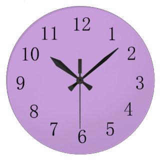Wisteria Purple Solid Color Large Clock