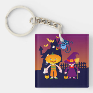 Witch and Pumpkin Head on Halloween Square Acrylic Key Chains