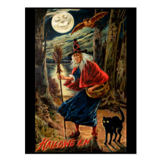 Witch at Halloween Night Postcard