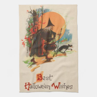 Witch Cauldron Black Cat Full Moon Tea Towel