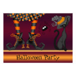 Witch Legs, Cat and Spider Halloween Party Invitation