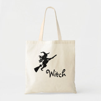 Witch on a Broom Silhouette Witch Bag