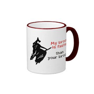 Witch on faster broom ringer mug