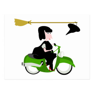 Witch Riding A Green Moped Postcard