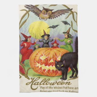 Witches Dancing Around Jack O' Lantern Tea Towel