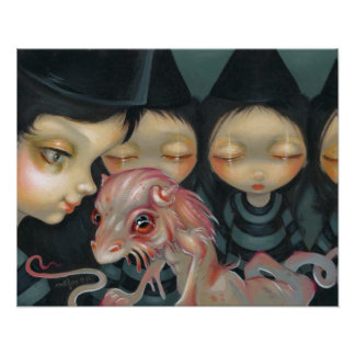Witchy Sisters The Pet ART PRINT Halloween Dragon