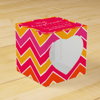 With compliments chevron red sample gift box favour box