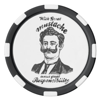 With great moustache comes great responsibility. set of poker chips