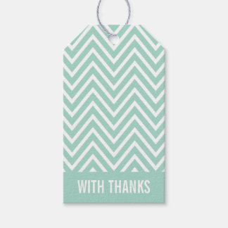 WITH THANKS TAG modern chevron simple cool mint