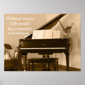 Without Music III -Nietzsche Quote - Art print