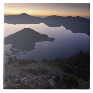 Wizard Island at dawn, Crater Lake National Park Large Square Tile