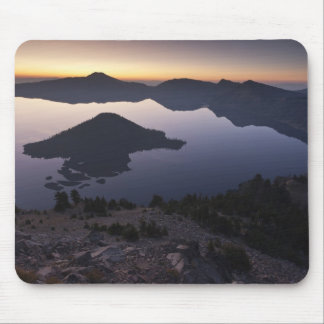 Wizard Island at dawn, Crater Lake National Park Mouse Pad