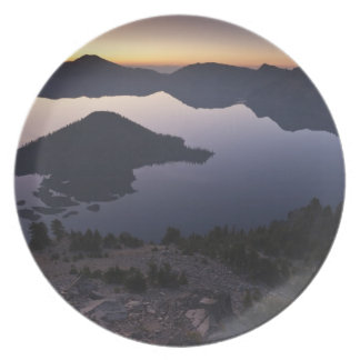 Wizard Island at dawn, Crater Lake National Park Party Plates