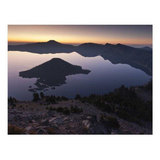 Wizard Island at dawn, Crater Lake National Park Postcards