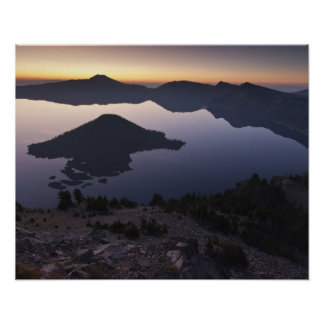 Wizard Island at dawn, Crater Lake National Park Poster