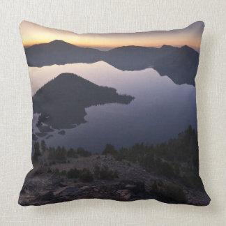 Wizard Island at dawn, Crater Lake National Park Throw Cushions