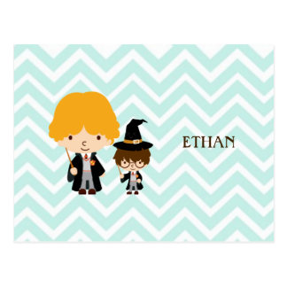 Wizards Magician Brothers on Chevron Background Postcard