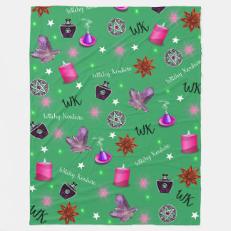 WK #ModernWitchLife Green Print Large Fleece Blanket