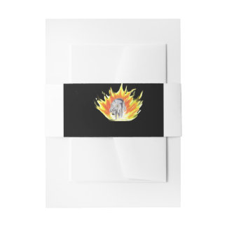 Wolf and fire invitation belly band
