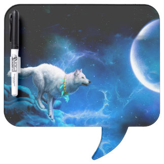 Wolf and Moon Dry Erase Whiteboard