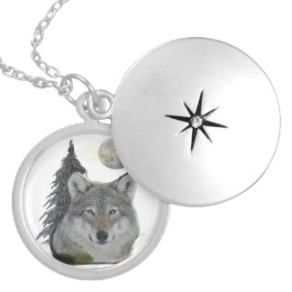 Wolf at Night products Silver Plated Necklace