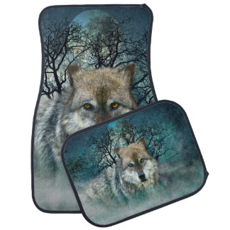 Wolf Full Moon in Fog Car Mat