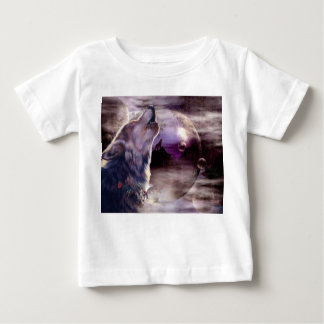 Wolf Howling at The Moon Baby T-Shirt