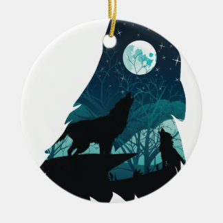 Wolf Howling with Forest Round Ceramic Decoration