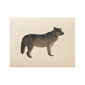 Wolf Low Poly Art Wood Poster