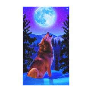 WOLF MOON STRETCHED CANVAS PRINT