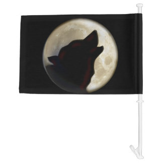 Wolf Moon Car Flag