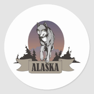 Wolf or coyote among pine trees in Alaska Classic Round Sticker