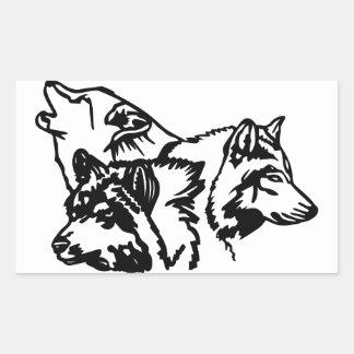 Wolf Pack Outline Rectangular Sticker