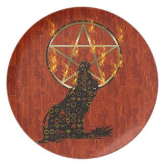 Wolf Pentagram Plate