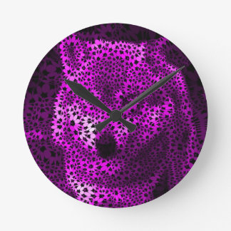 Wolf pink, funky flowers round clock