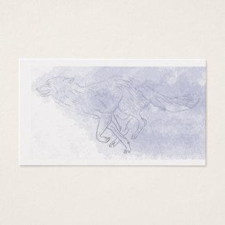 Wolf running Watercolour ghost blue Business Card