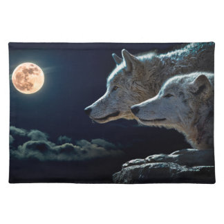 Wolf Wolves Howling at the Full Moon Placemat