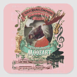Wolfgang Amadeus Moozart Moose Animal Composers Square Sticker
