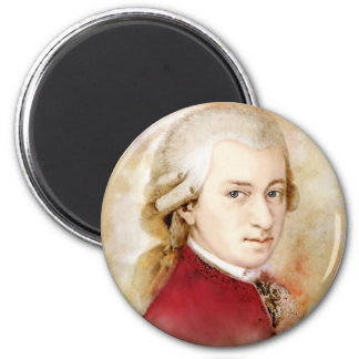 Wolfgang Amadeus Mozart in the water color style Magnet