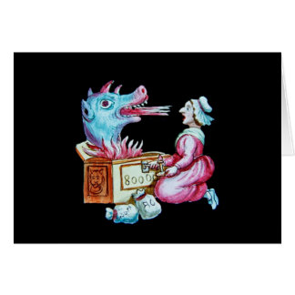 Woman and Fire Breathing Dragon Vintage Greeting Card