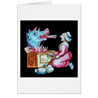 Woman and Fire Breathing Dragon Vintage Card