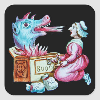 Woman and Fire Breathing Dragon Vintage Square Sticker